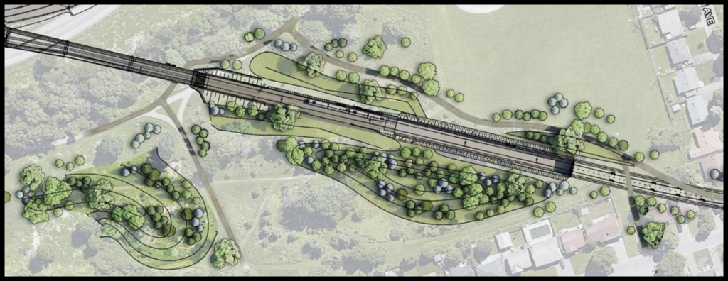 Landscape plan for Connaught park showing walls around the train and small berms